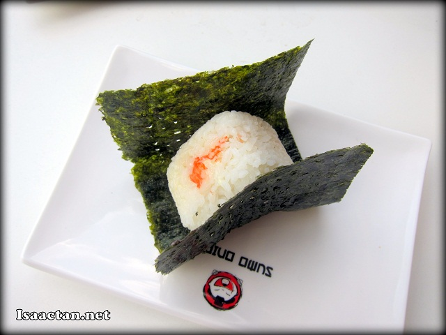 This was how the Japanese Onigiri looked like served on a plate