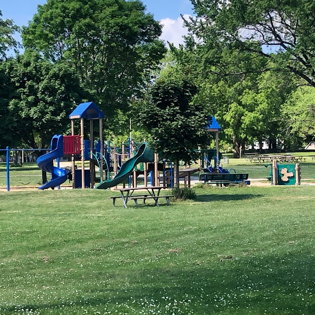 A playground draws delight from children visiting Sheridan Park.