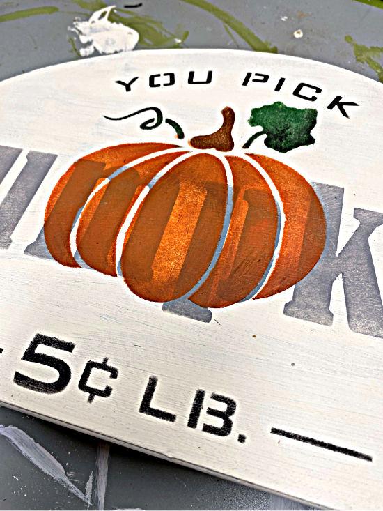 pumpkin stenciled sign