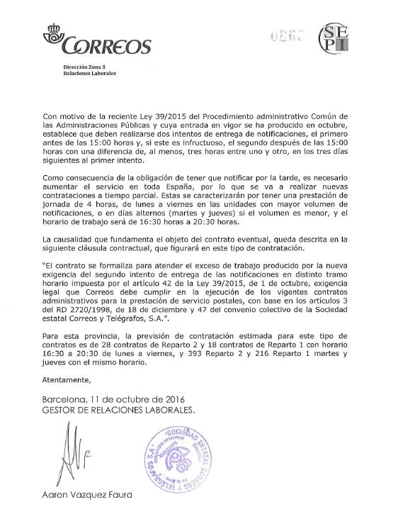 Laboral sipcte correos sindicato independiente for Horario de oficina correos