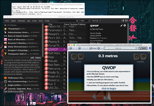 """لعبة """"QWOP"""" في Flashpoint على ماك."""