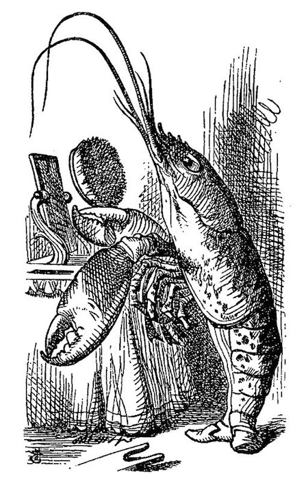 Tenniel illustration of lobster from Alice's Adventures in Wonderland