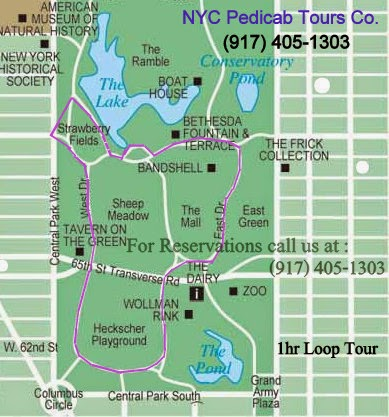 Central Park Pedicab Tours -1hr map