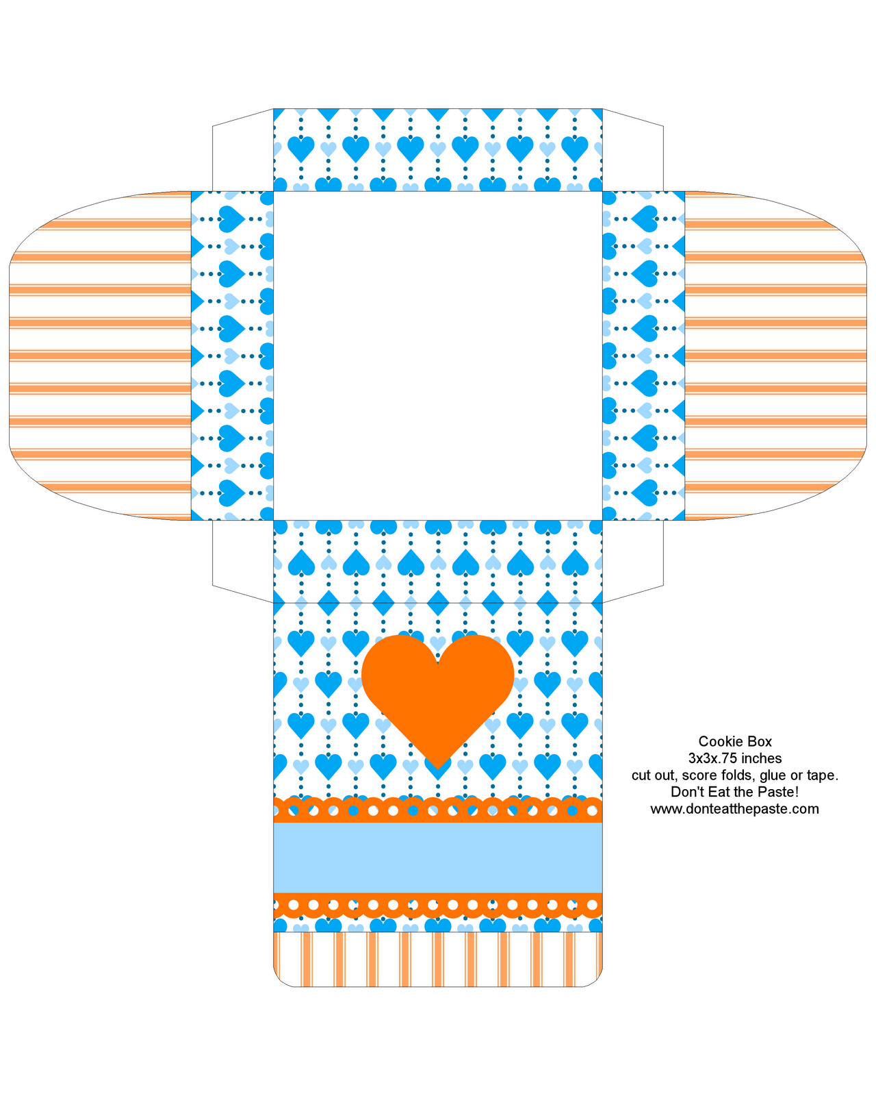 Don T Eat The Paste Printable Valentines And Cookie Box Blue And Orange