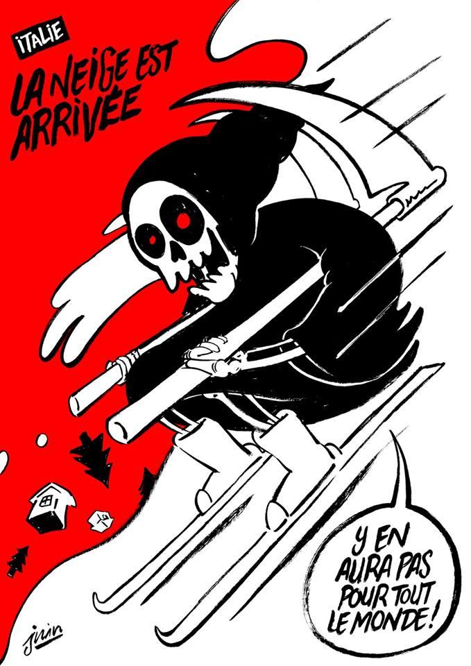 Charlie Hebdo, vignetta choc anche sulla tragedia di Rigopiano. La rabbia degli italiani!!