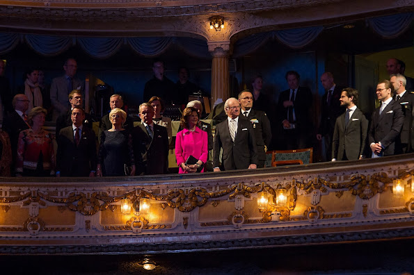 Queen Silvia, Prince Daniel and Prince Carl Philip at Baltic Sea Seminarfor King Carl Gustaf's 70th birthday celebrations