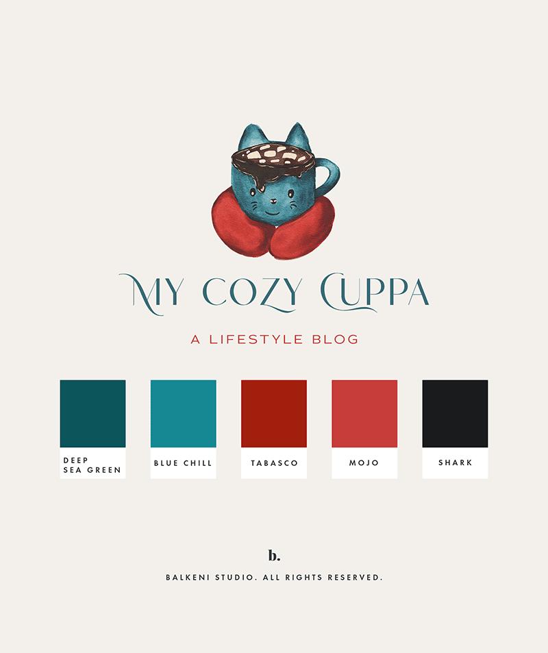 Cozy cat mug watercolor logo by balkeni studio