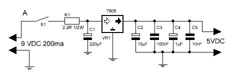 Termómetro con PIC16F88 diagrama fuente de alimentación.