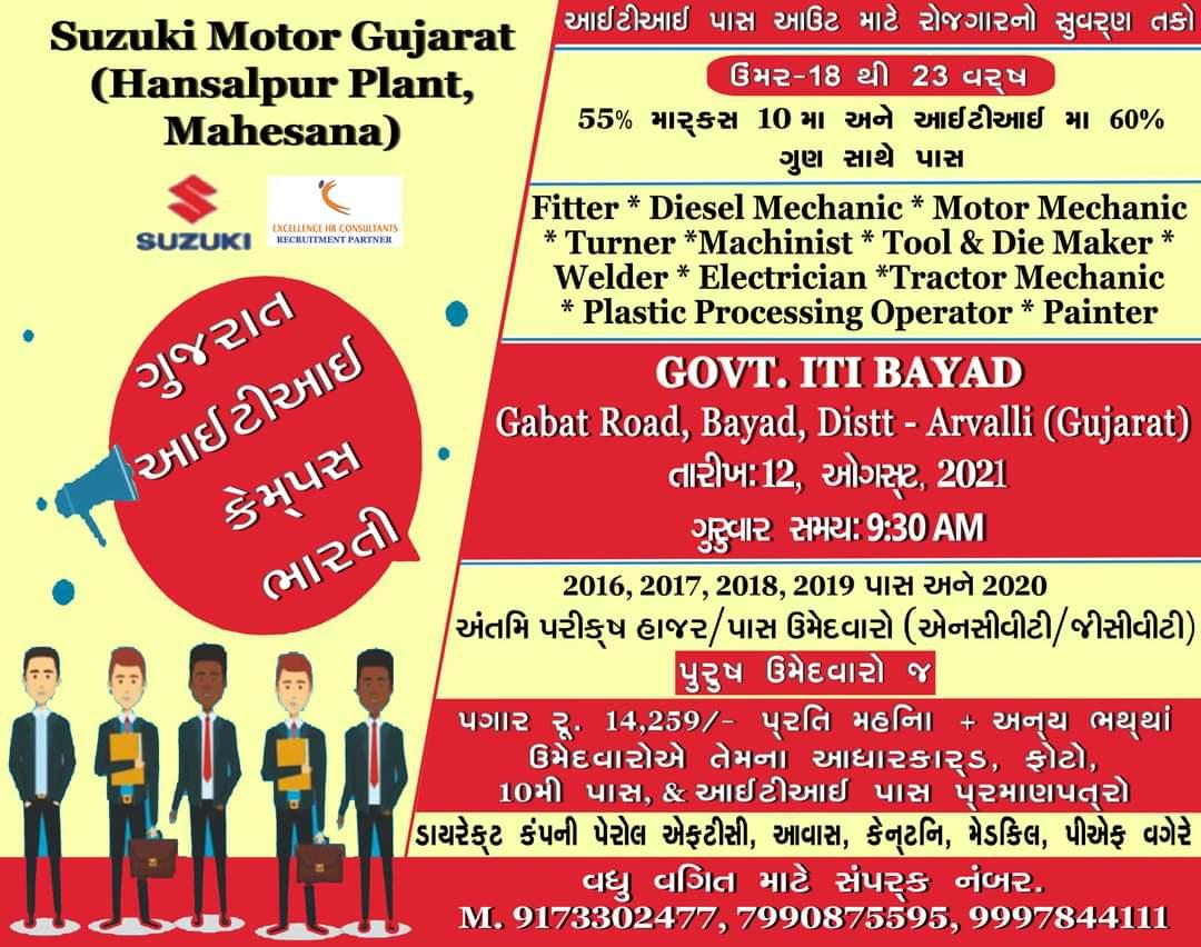 ITI Jobs Campus Placement Drive At Govt. ITI Bayad, Arvalli, Gujarat For Suzuki Motors Cars Manufacturing Plant