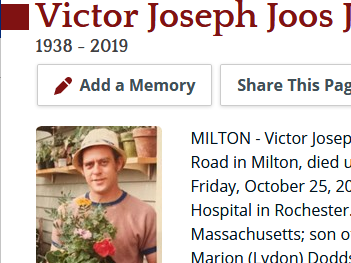 Remembering Victor Joseph Joos Jr.  1938 - 2019