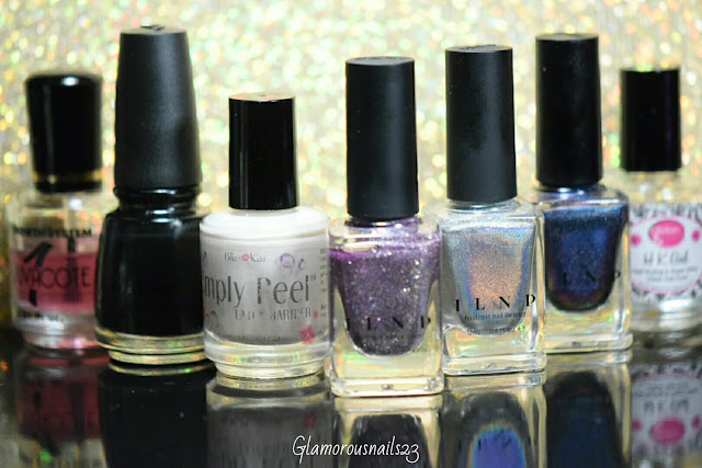 Duri Rejuvacote, China Glaze Liquid Leather, Bliss Kiss Simply Peel Latex Barrier, ILNP Happily Ever After, ILNP Mega (S), ILNP Hush (H), Glisten & Glow HK Girl Fast Drying Top Coat