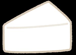 三角形のチーズのイラスト(カマンベールチーズ)