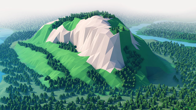 wallpaper mountains trees forest 3d minimalism
