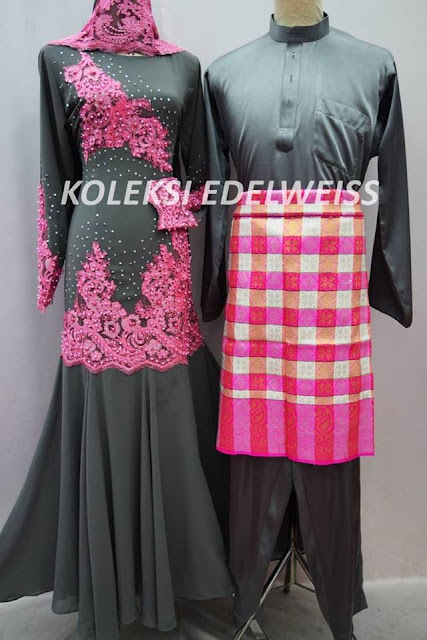 Set BAJU Dress Nikah Pink Grey  Sedondon Muslimah  2016