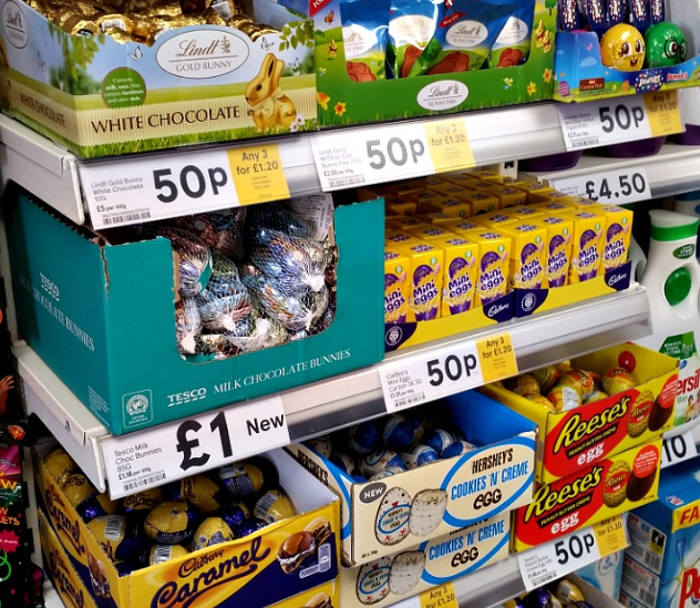 A display of mini easter eggs on the shelves in Tesco
