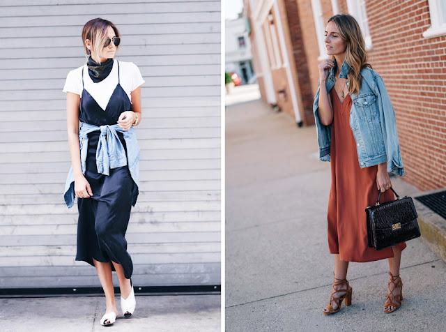 Синее и розовое платье-комбинация с джинсовкой
