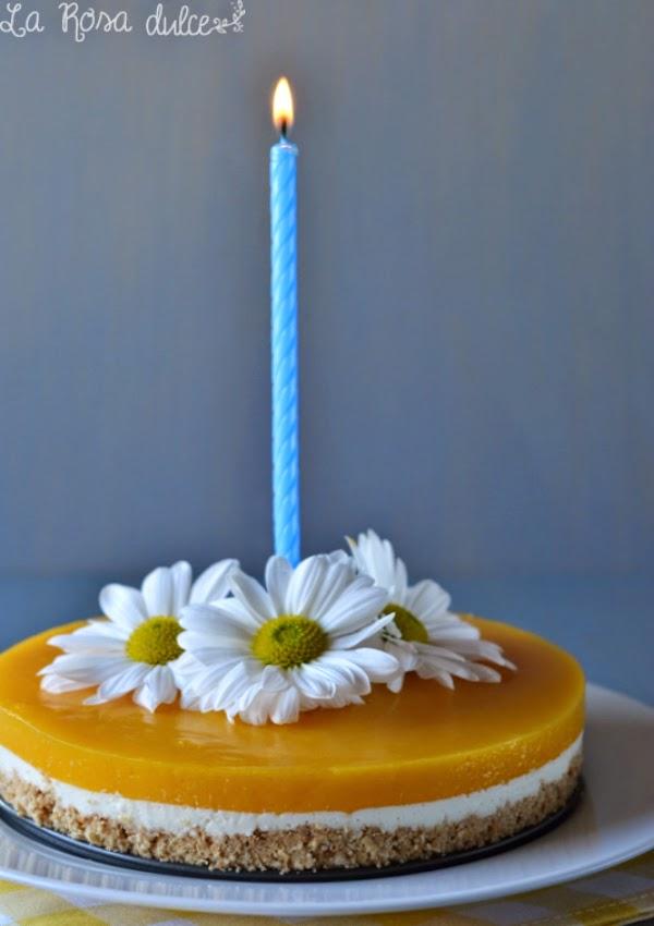 Tarta de queso con gelatina de mango