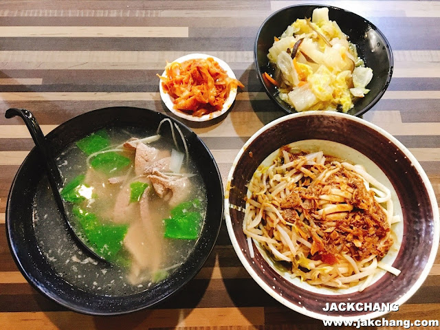 package C,  Sesame paste noodle + pork liver soup + braised Chinese cabbage