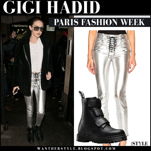 Gigi Hadid in silver metallic skinny pants unravel and black boots dr martens coralia what she wore paris fashion week outfits