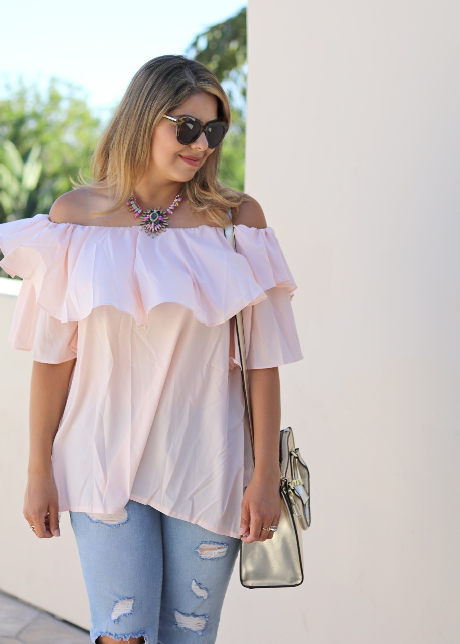 statement necklace, cold shoulder outfit, pink off the shoulder top, cute hair blogger, chicwish blogger