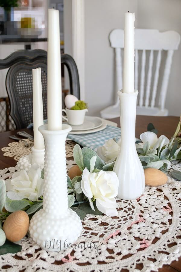 milk glass vases on Spring tablescape