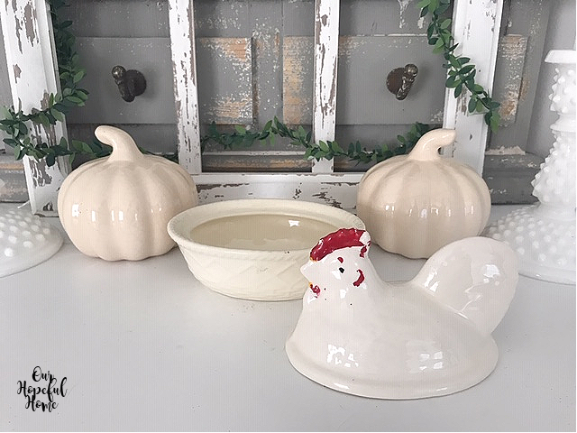 white ceramic pumpkins hen on nest bowl