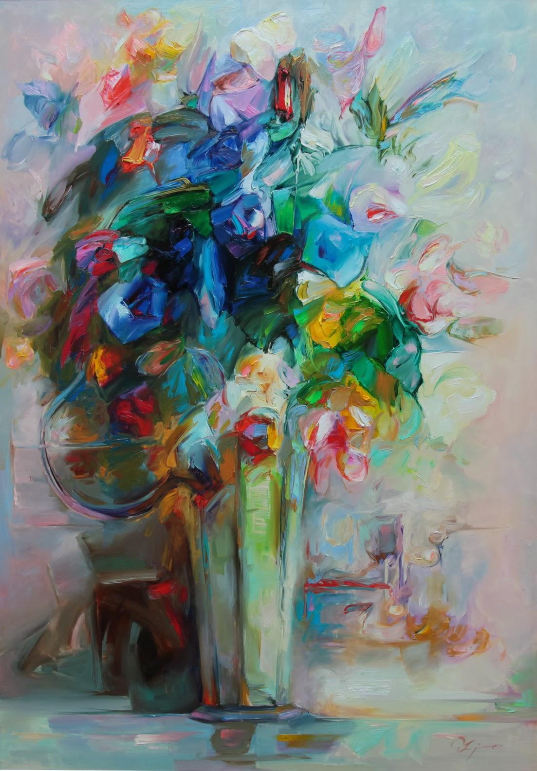 Kwiaty malowane na płótnie. Wśród barw dominuje błękit