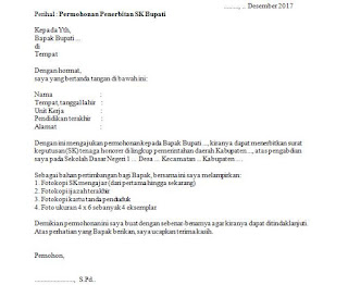 format surat permohonan sk bupati yang baik dan benar (untuk syarat penerbitan NUPTK baru atau syarat program sertifikasi)
