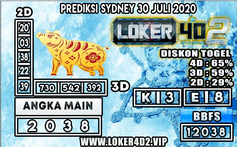 PREDIKSI TOGEL LOKER4D2 SYDNEY 30 JULI 2020