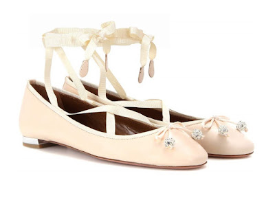Aquazzura Very Ballerina Flat Blush ballet flats with satin lace up ribbons