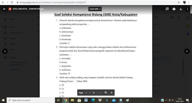 Contoh soal tes P3K Kota / Kabupaten dan Kunci Jawaban