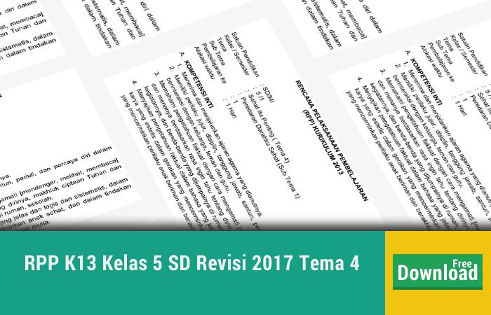 RPP K13 Kelas 5 SD Revisi 2017 Tema 4