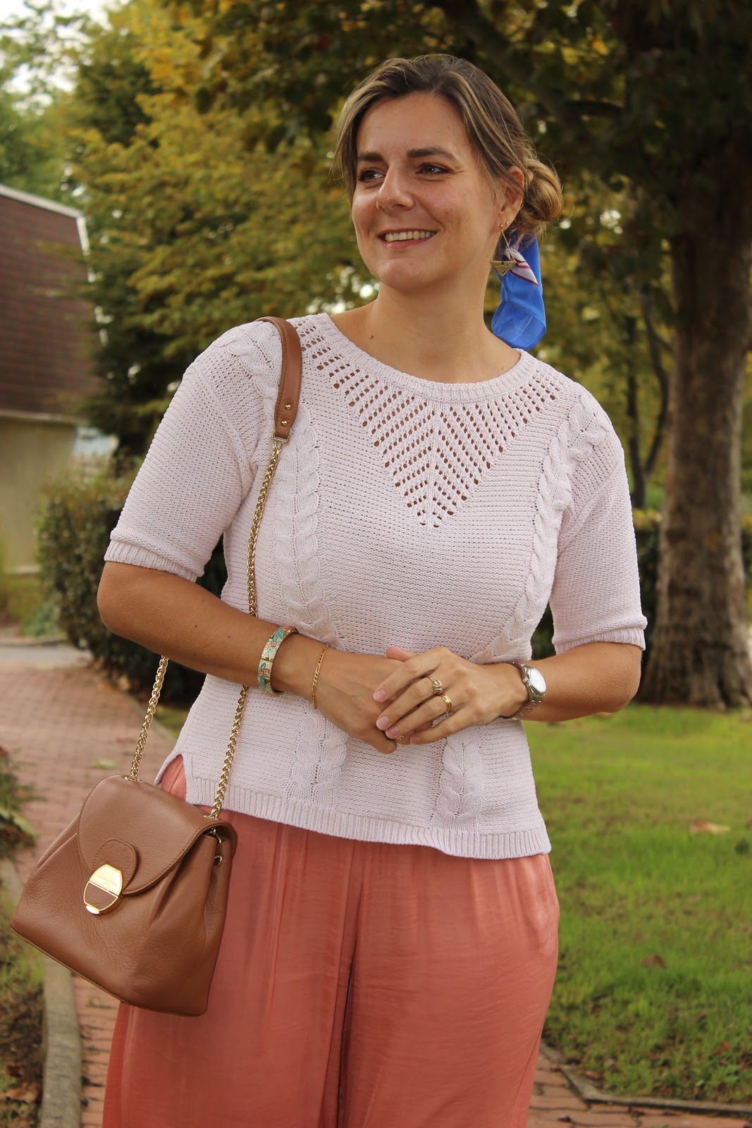total look monochrome, pantalon zara rose, les petites bulles de ma vie