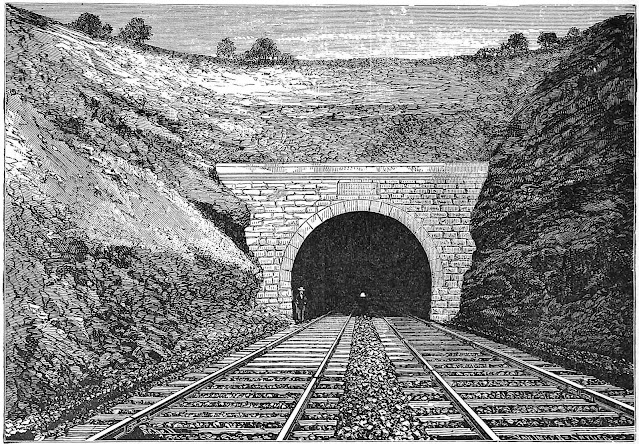 an 1878 train tunnel illustrated or etched with great detail