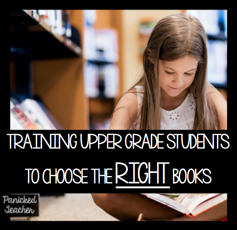 upper grade libraries, choosing just right books, 5th grade library organization