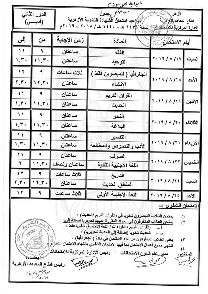 جدول امتحانات الدور الثانى و موعد ظهور نتيجة تنسيق الثانوية