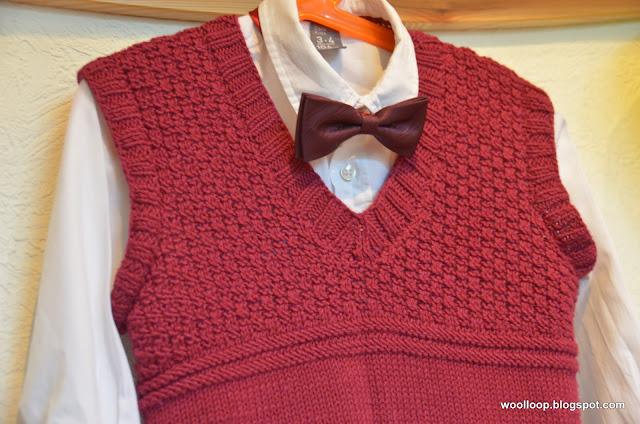 chłopięca kamizelka na drutach
