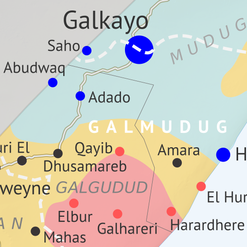 Who controls Somalia? Map (end of 2019). With states, regions, and territorial control. Best Somalia control map online, thoroughly researched, detailed but concise. Shows territorial control by Federal Government of Somalia (FGS), Al Shabaab, so-called Islamic State (ISIS/ISIL), separatist Somaliland, and autonomous states Puntland and Galmudug, plus boundaries of federal states Jubaland, South West, and Hirshabelle. Updated to December 31, 2019. Colorblind accessible.