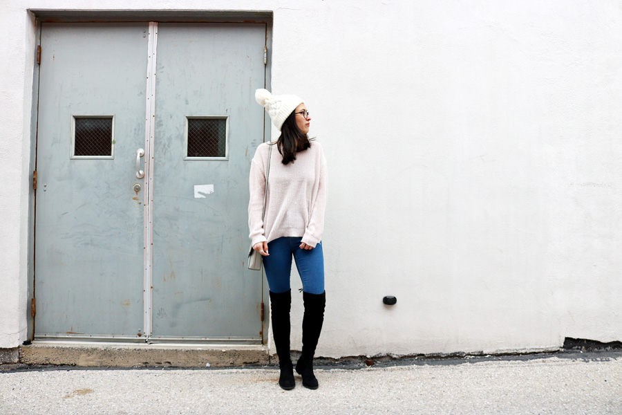 Pale Pink Sweater Over the Knee Boots Jeans