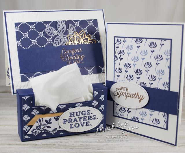 Floral Boutique Flourish Sympathy & Comfort Set | Elegant Navy and White Handmade Card Set