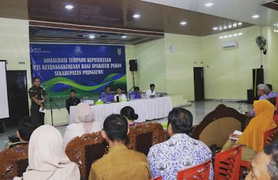 Aparat Pekon se-Kecamatan Sukoharjo, Banyumas dan Adiluwih Ikuti Sosialisasi Terpadu BPJS Ketenagakerjaan