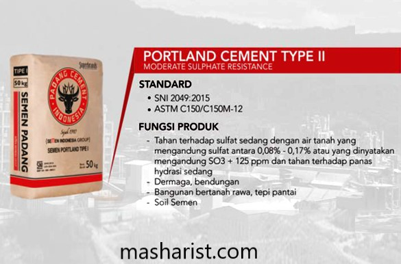 Portland Cement Type II – moderate sulfate resistance