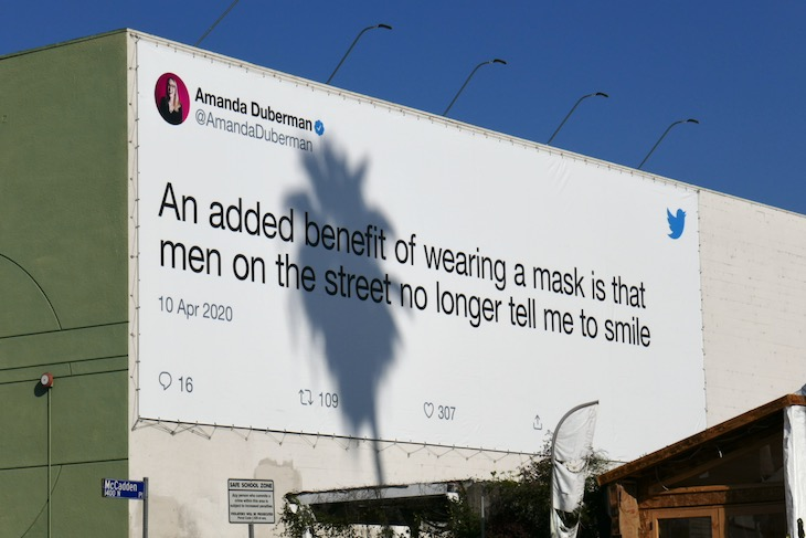benefit wearing mask men no tell me smile twitter billboard