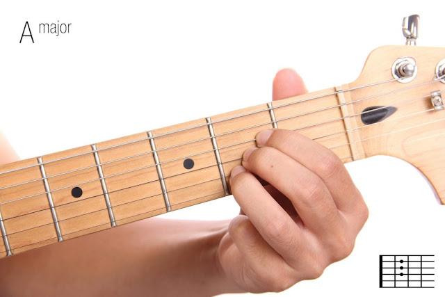 Belajar Chord dan kunci gitar dasar (A) mayor
