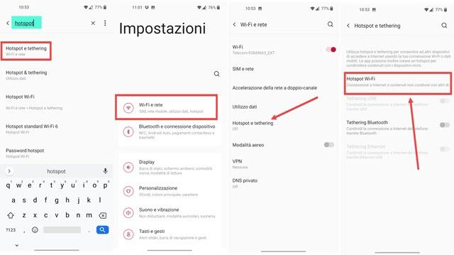 attivazione hotspost mobile su android