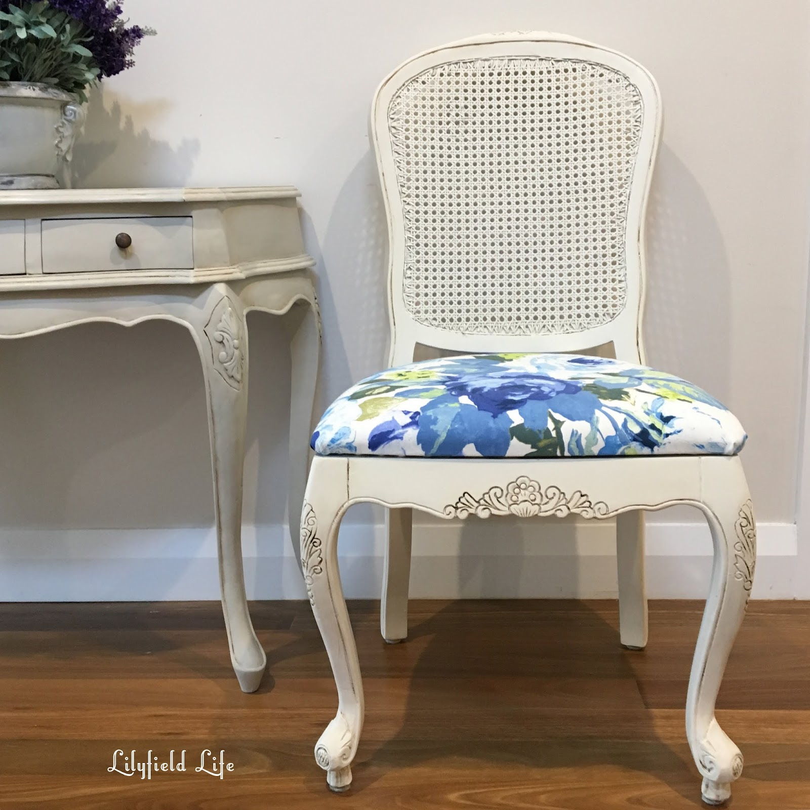 French Style Chair Freshly Painted In An Off White Chalk Paint And  Antiqued. Lovely Carved Details On Sides And Top. Rattan In Perfect  Condition.
