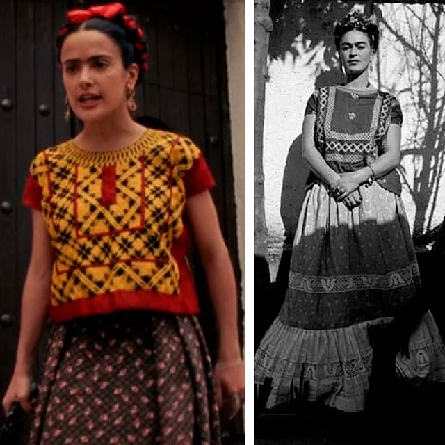 Frida Kahlo no filme e foto real roupa estampada