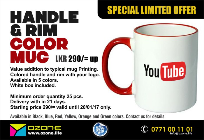 Handle & Rim Color Mug with your logo | 290/= Limited offer.
