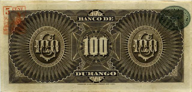 Billetes Mexicanos 100 Pesos Banco de Durango