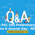 Kerala PSC 12th Preliminary Exam Questions & Answer Key - 10/04/2021